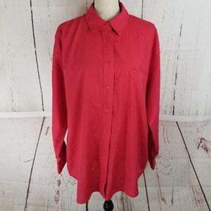 Foxcroft Button Up Sz 16W Plus Hot Red